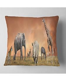 """Designart Savannah Wildlife Panorama African Throw Pillow - 26"""" x 26"""""""