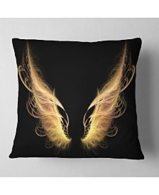 """Designart Golden Angel Wings on Black Abstract Throw Pillow - 16"""" x 16"""""""