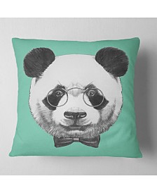 "Designart Panda with Glasses and Bow Tie Animal Throw Pillow - 16"" x 16"""