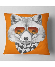 "Designart Fox with Mirror and Sunglasses Contemporary Animal Throw Pillow - 16"" x 16"""