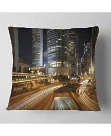"""Designart Skyscrapers and Busy Traffic Cityscape Throw Pillow - 18"""" x 18"""""""
