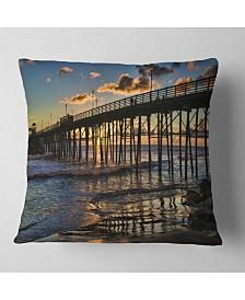 """Designart Pacific Ocean Sunset Oceanside Pier Modern Seascape Throw Pillow - 18"""" x 18"""""""