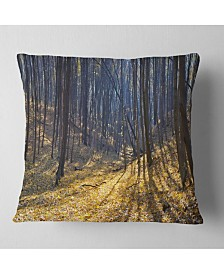 "Designart Thick Autumn Forest Woods Oversized Forest Throw Pillow - 26"" x 26"""