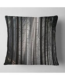 """Designart Sunbeams Peeking Through Dark Forest Forest Throw Pillow - 18"""" x 18"""""""