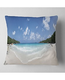 "Designart Blue Seychelles Island Panorama Seascape Throw Pillow - 18"" x 18"""