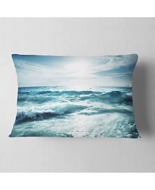 """Designart Seychelles Beach at Sunset Seascape Throw Pillow - 12"""" x 20"""""""