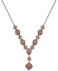 "Silver-Tone Crystal & Stone Lariat Necklace, 17"" + 2"" extender, Created For Macy's"