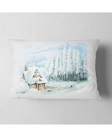 "Designart Christmas Winter Happy Scene Landscape Printed Throw Pillow - 12"" x 20"""