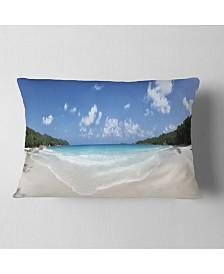 "Designart Blue Seychelles Island Panorama Seascape Throw Pillow - 12"" x 20"""