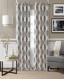 "Navara Medallion Print Linen 52"" x 84"" Blackout Curtain Panel"
