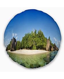 "Designart Paradise on Earth Seychelles Island Seashore Throw Pillow - 16"" Round"