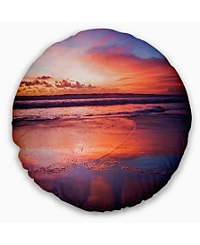 """Designart Colorful Tropical Beach with Clouds Seascape Throw Pillow - 16"""" Round"""
