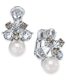 Charter Club Silver-Tone Crystal & Imitation Pearl Clip-On Stud Earrings, Created For Macy's