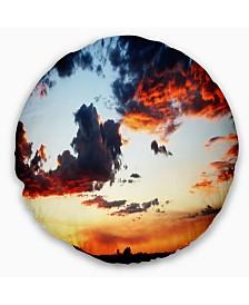 "Designart Blazing Sky with Clouds Panorama Seascape Throw Pillow - 16"" Round"