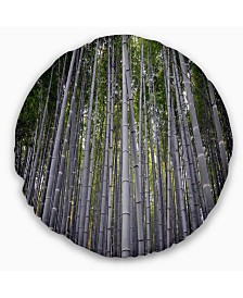 """Designart Thick Bamboo Trunks in Japan Forest Throw Pillow - 16"""" Round"""