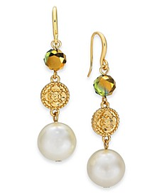Gold-Tone Imitation Pearl, Flower Coin & Bead Triple Drop Earrings, Created For Macy's