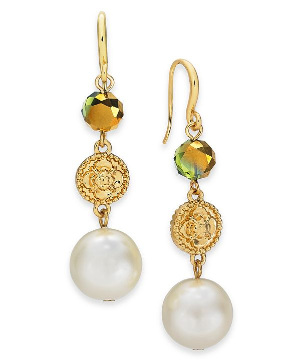 Charter Club Gold-Tone Imitation Pearl, Flower Coin & Bead Triple Drop Earrings, Created for Macy's
