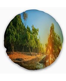 "Designart Beautiful Thailand Tropical Beach Landscape Wall Throw Pillow - 16"" Round"