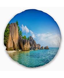 "Designart Fantastic Seychelles Seashore Seascape Throw Pillow - 16"" Round"