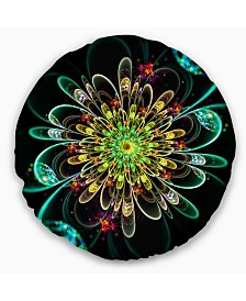 "Designart Perfect Shiny Fractal Flower in Green Floral Throw Pillow - 20"" Round"