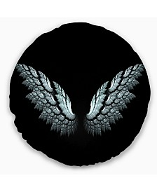 """Designart Angel Wings on Black Background Abstract Throw Pillow - 20"""" Round"""