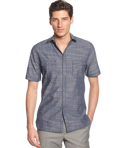 Alfani Short Sleeve Warren Textured Shirt, Only at Macy's - Casual ...