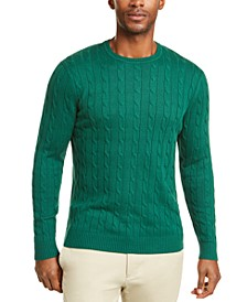 Men's Cotton Cable Crewneck Sweater, Created for Macy's