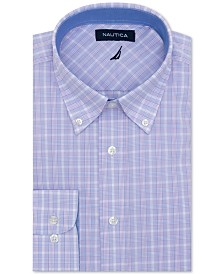 Nautica Men's Classic/Regular-Fit Comfort Stretch Wrinkle-Free Plaid Dress Shirt