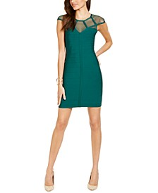 Illusion-Mesh Bodycon Dress