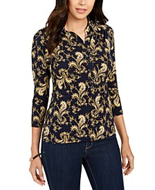 Petite Printed 3/4-Sleeve Polo Top, Created for Macy's