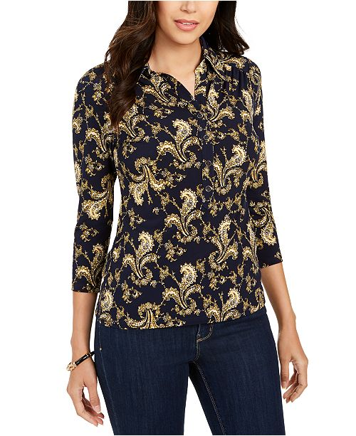 Charter Club Petite Printed 3/4-Sleeve Polo Top, Created for Macy's