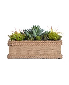 "Laura Ashley 6.5"" Tall Succulents Artificial Lifelike Faux in Hemp Rope Container"