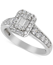 Diamond Cluster Halo Engagement Ring (3/4 ct. t.w.) in 14k White Gold