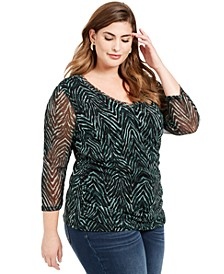 INC Plus Size Double-Layered Ruched-Side Top, Created For Macy's