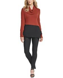 DKNY Cowlneck Peplum-Hem Sweater