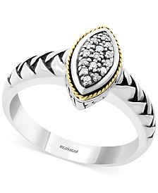 EFFY® Diamond Marquise Cluster Statement Ring (1/20 ct. t.w.) in Sterling Silver & 18k Gold