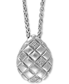 """EFFY® Diamond Pineapple 18"""" Pendant Necklace (1/10 ct. t.w.) in Sterling Silver"""