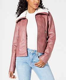 Juniors' Faux-Fur-Collar Moto Jacket, Created for Macy's