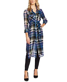 Sheer Plaid Duster Jacket