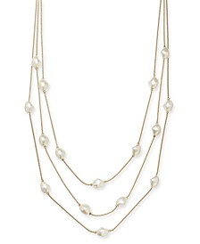 "Gold-Tone Imitation Pearl Multi-Row Necklace, 20"" + 2"" extender, Created for Macy's"