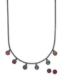 "I.N.C. Hematite-Tone Pavé Mini-Disc Collar Necklace & Stud Earrings Set, 17"" + 3"" extender, Created For Macy's"