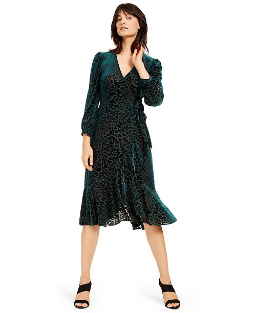 Calvin Klein Burnout Velvet Animal-Print Wrap Dress