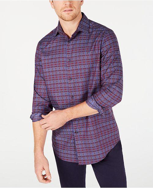 Tasso Elba Men's Stretch Plaid Dobby Shirt, Created for Macy's