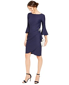 Bell-Sleeve Draped Compression Sheath Dress