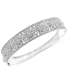 EFFY® Diamond Floral Openwork Bangle Bracelet (1-3/8 ct. t.w.) in 14k White Gold