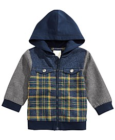 First Impressions Baby Boys Hooded Patchwork Jacket, Created for Macy's