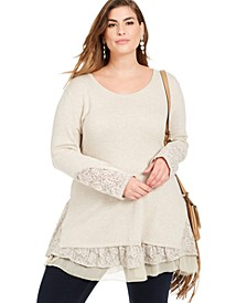 Plus Size Lace-Trim Tiered Tunic, Created For Macy's