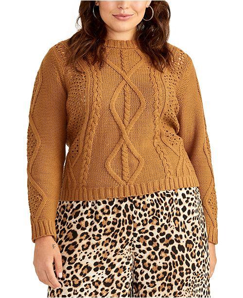 RACHEL Rachel Roy Trendy Plus Size Adrina Mixed-Cable Sweater