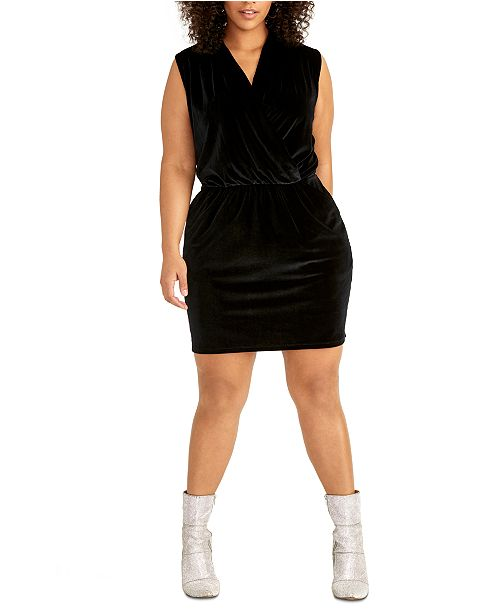 RACHEL Rachel Roy Trendy Plus Size Isabella Knit Crossover Mini Dress