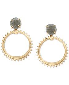 Druzy Stone & Studded Hoop Drop Earrings